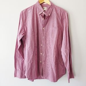 J.Crew men's Tailored Fit maroon check button dowb